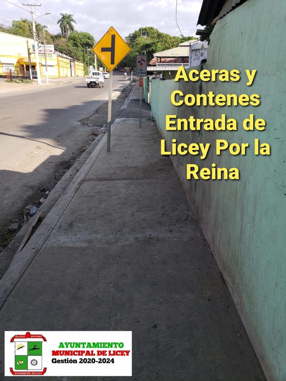 Terminación de las Aceras y Contenes de la Entrada Municipal.